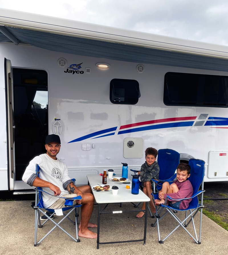 Guy and his sons on his Lets Go Camping trip