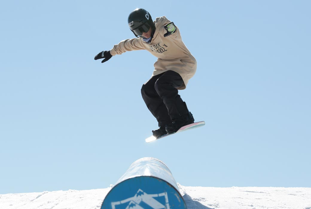 Snowboarding with Koki Snowsport Hire equipment