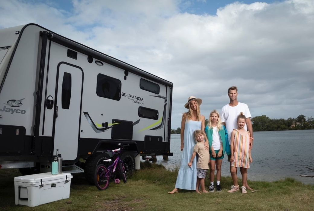 Jade Berg and her family with their Jayco caravan