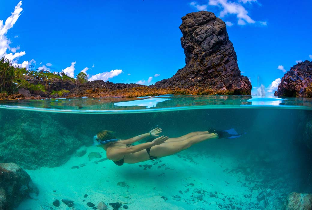 Snorkelling at Dolly Beach makes Christmas Island a best islands for a family holiday