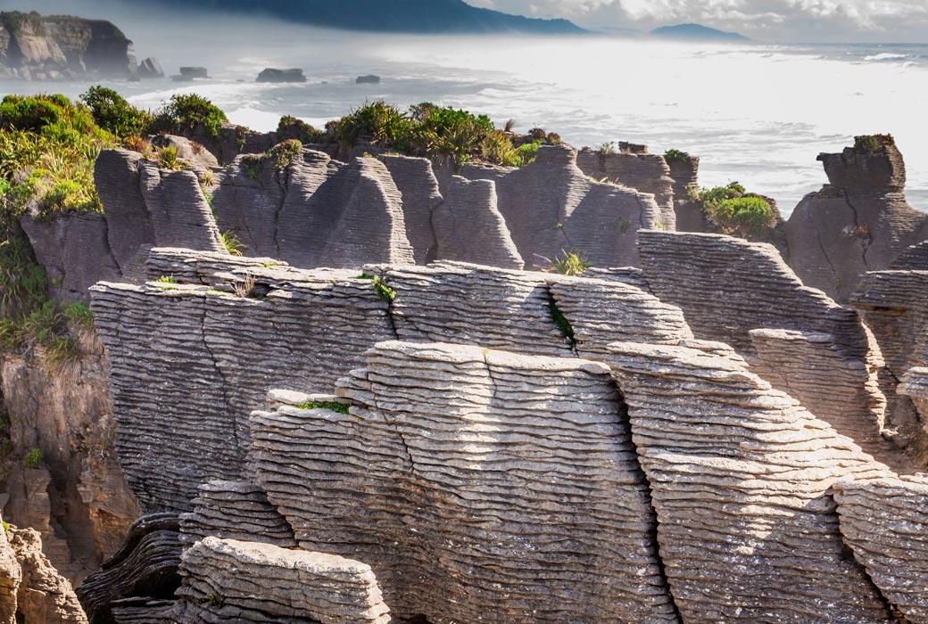 Punakaiki Pancake Rocks in Paparoa National Park, West Coast, South Island, New Zealand.